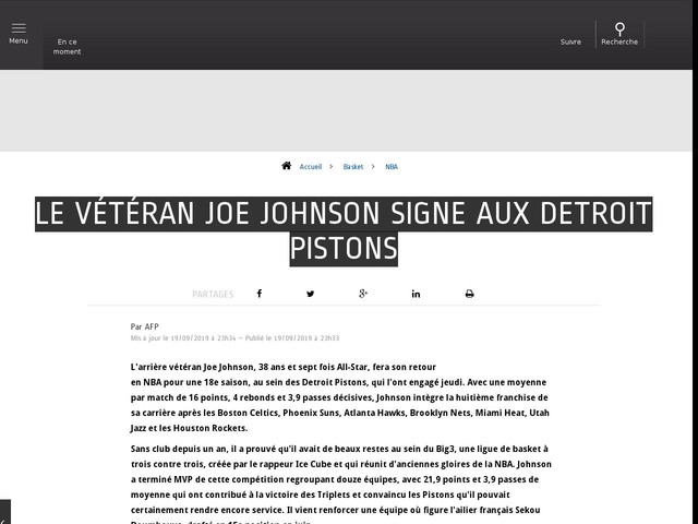 Basket - NBA - Le vétéran Joe Johnson signe aux Detroit Pistons