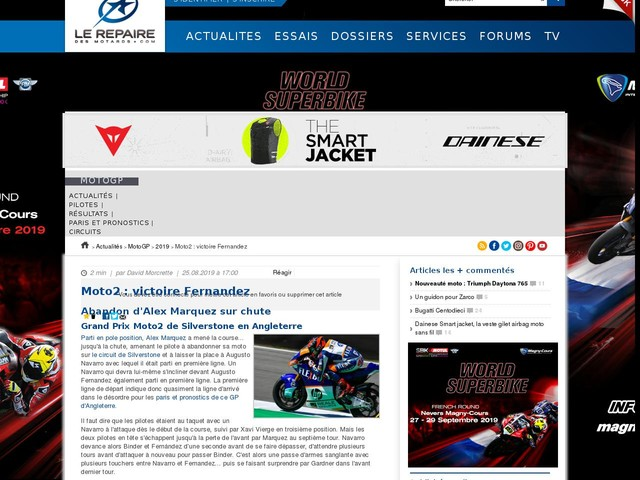 Moto2 : victoire Fernandez