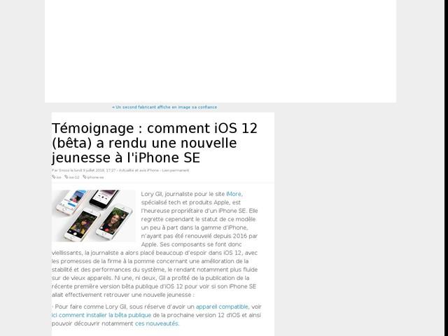 Témoignage : comment iOS 12 (bêta) a rendu une nouvelle jeunesse à l'iPhone SE