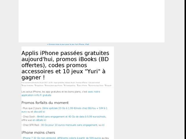"""Applis iPhone passées gratuites aujourd'hui, promos iBooks (BD offertes), codes promos accessoires et 10 jeux """"Yuri"""" à gagner !"""