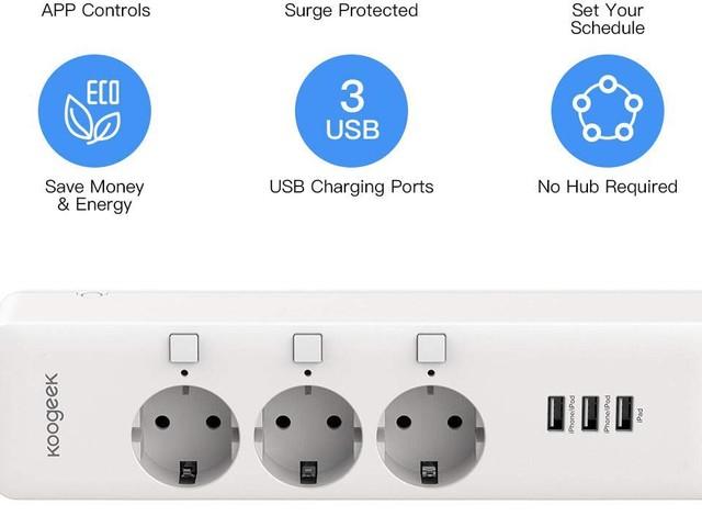 [De retour – #Promo] Multiprise connectée (Apple Homekit/Alexa/Google Assistant) avec 3 ports USB à 42,99€ (+ autres promos)