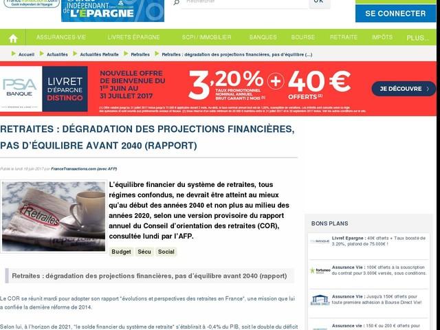 Retraites : dégradation des projections financières, pas d'équilibre avant 2040 (rapport)