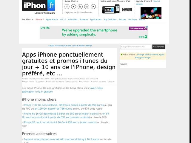 Apps iPhone ponctuellement gratuites et promos iTunes du jour + 10 ans de l'iPhone, design préféré, etc ...