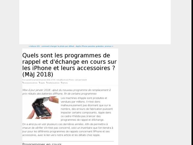 Quels sont les programmes de rappel et d'échange en cours sur les iPhone et leurs accessoires ? (MàJ 2018)
