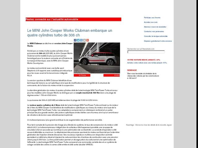 Le MINI John Cooper Works Clubman embarque un quatre cylindres turbo de 306 ch
