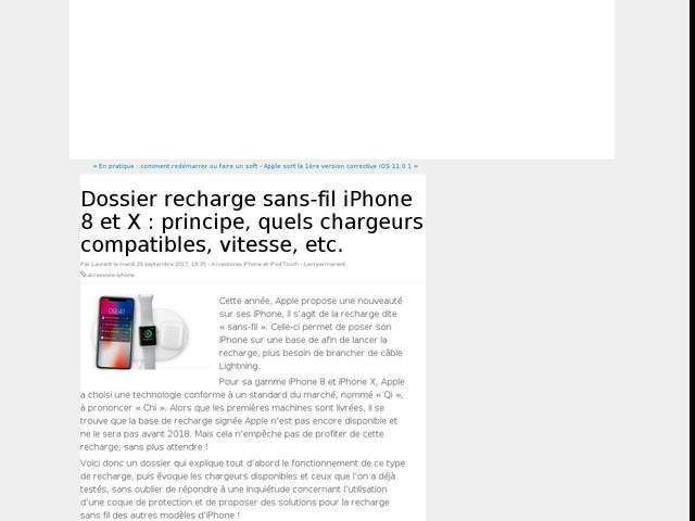 Dossier recharge sans-fil iPhone 8 et X : principe, quels chargeurs compatibles, vitesse, etc.