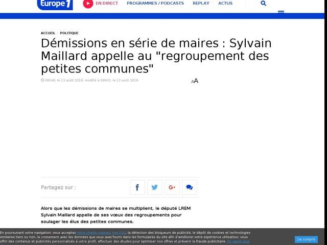 """Démissions en série de maires : Sylvain Maillard appelle au """"regroupement des petites communes"""""""