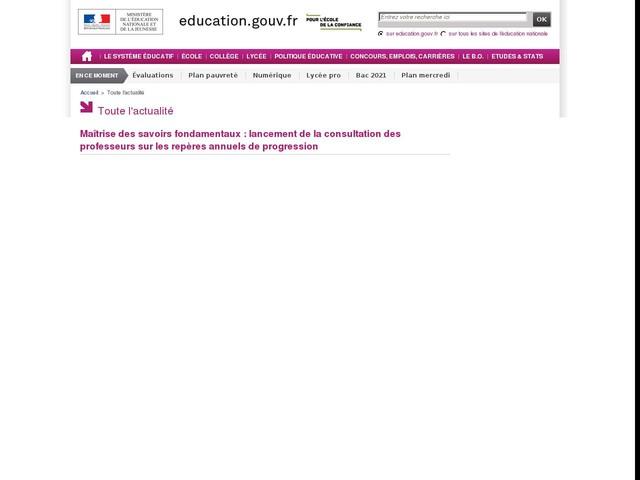 Maîtrise des savoirs fondamentaux : lancement de la consultation des professeurs sur les ...