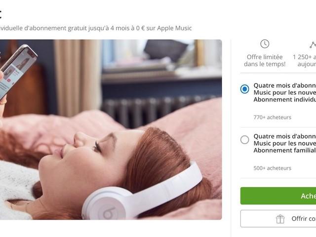Jusqu'à 4 mois offerts sur Apple Music avec un code sur Groupon