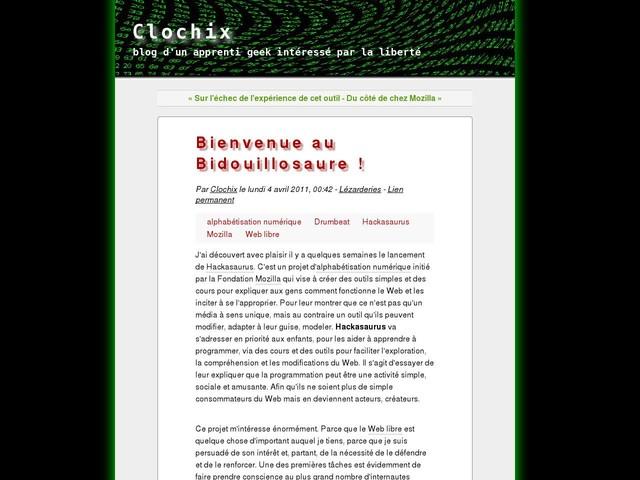 Bienvenue au Bidouillosaure !