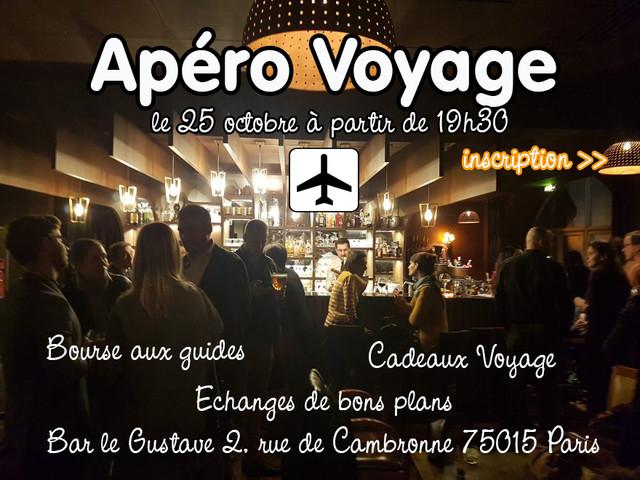 Le prochain Apéro Voyage : le 25 octobre à Paris