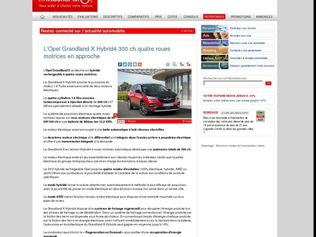L'Opel Grandland X Hybrid4 300 ch quatre roues motrices en approche