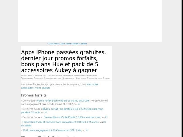 Apps iPhone passées gratuites, dernier jour promos forfaits, bons plans Hue et pack de 5 accessoires Aukey à gagner