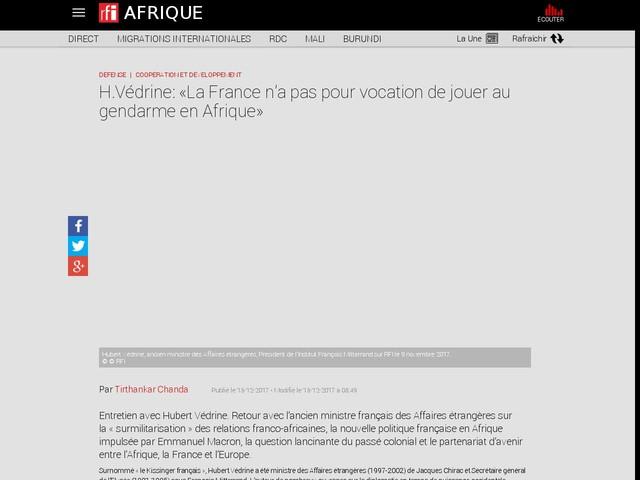 H.Védrine: «La France n'a pas pour vocation de jouer au gendarme en Afrique»