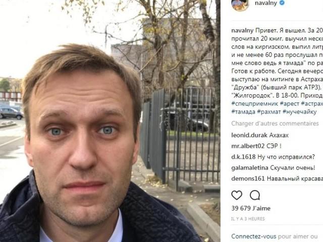Russie: Navalny annonce sa sortie de prison sur Instagram et repart en campagne