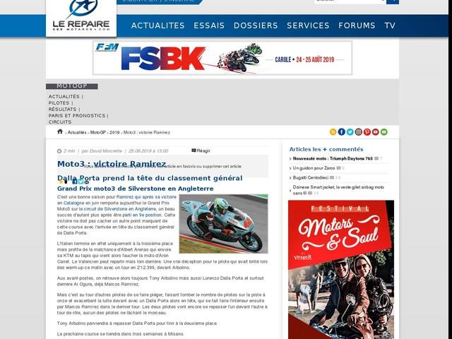 Moto3 : victoire Ramirez