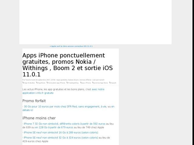 Apps iPhone ponctuellement gratuites, promos Nokia / Withings , Boom 2 et sortie iOS 11.0.1
