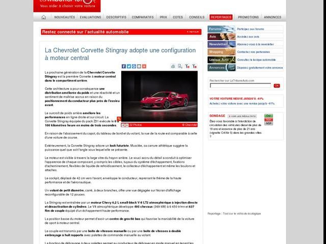 La Chevrolet Corvette Stingray adopte une configuration à moteur central