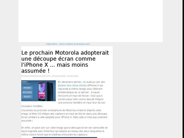 Le prochain Motorola adopterait une découpe écran comme l'iPhone X ... mais moins assumée !