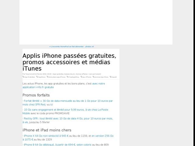 Applis iPhone passées gratuites, promos accessoires et médias iTunes