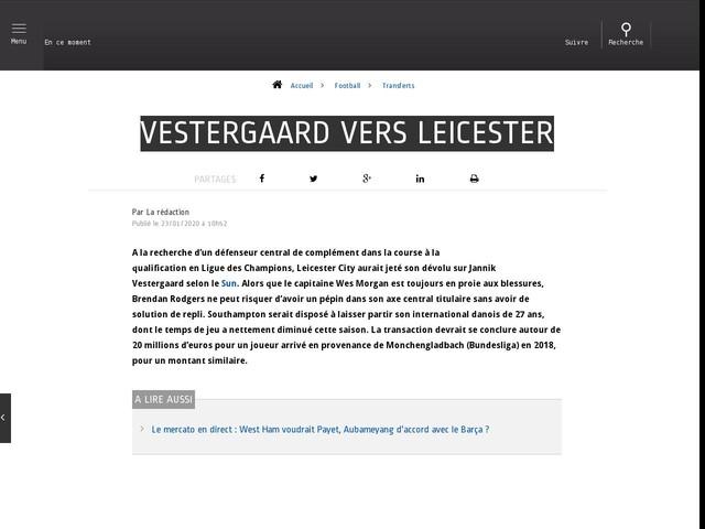 Football - Transferts - Vestergaard vers Leicester