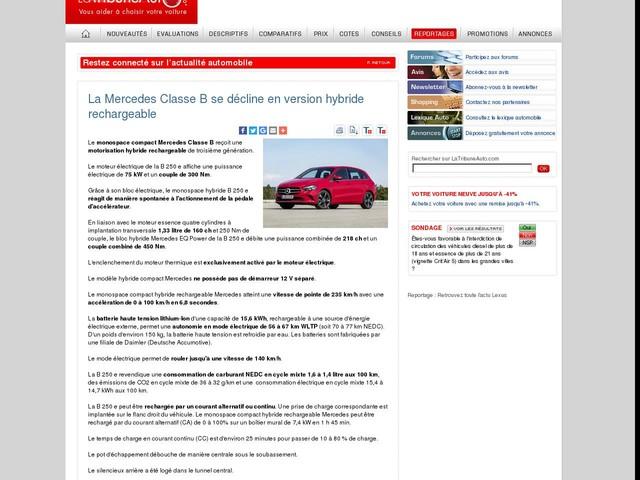 La Mercedes Classe B se décline en version hybride rechargeable