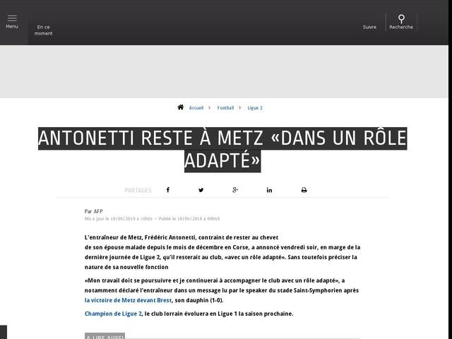 Football - Ligue 2 - Antonetti reste à Metz «dans un rôle adapté»