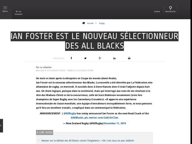 Rugby - Ian Foster est le nouveau sélectionneur des All Blacks
