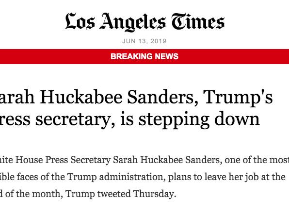 Mme Sarah Huckabee Sanders, porte-parole de Trump à la Maison-Blanche, remet sa démission