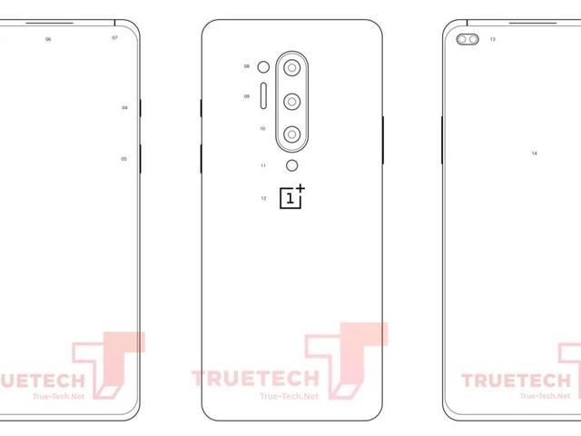 Le rendu du OnePlus 8 Pro montre les 4 caméras à l'arrière, et le trou dans l'écran