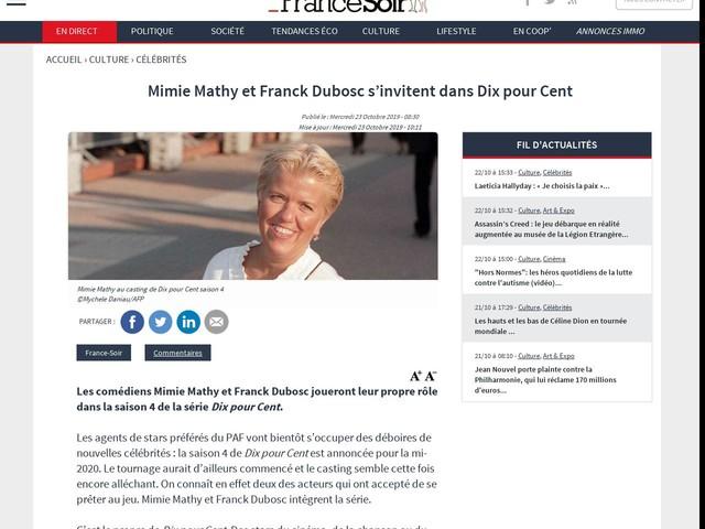 Mimie Mathy et Franck Dubosc s'invitent dans Dix pour Cent