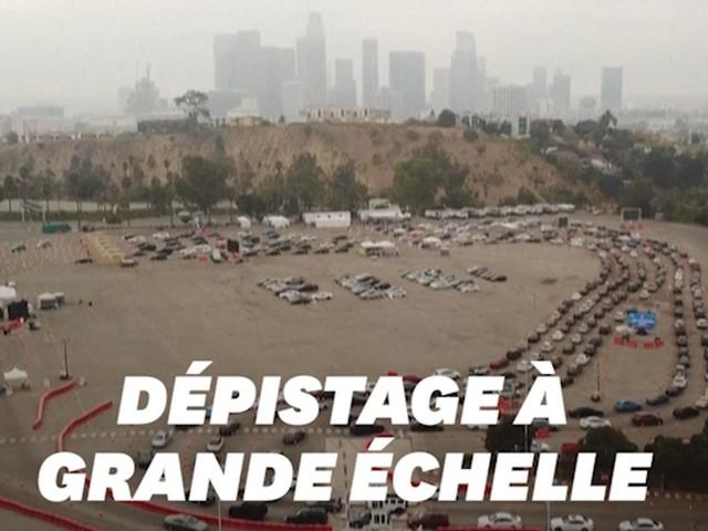 Le dépistage Covid dans ce stade de Los Angeles est impressionnant vu d'un drone