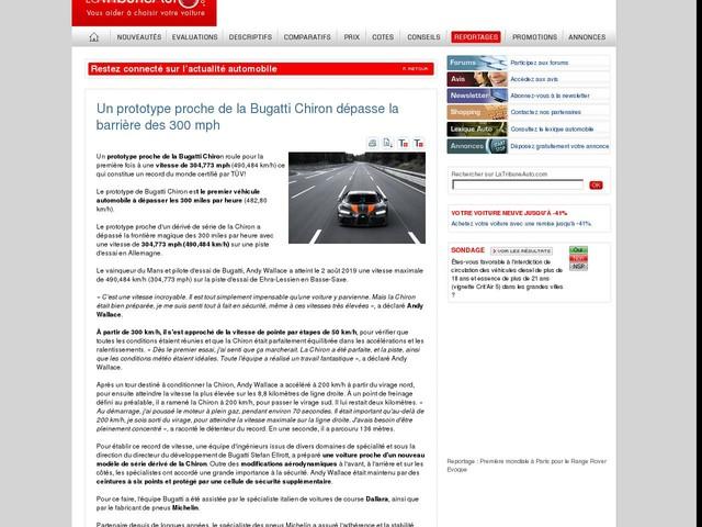 Un prototype proche de la Bugatti Chiron dépasse la barrière des 300 mph