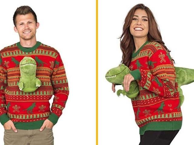 [TOPITRUC] Un pull de Noël avec une peluche de T-Rex