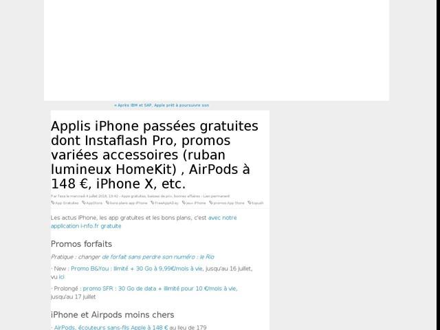 Applis iPhone passées gratuites dont Instaflash Pro, promos variées accessoires (ruban lumineux HomeKit) , AirPods à 148 €, iPhone X, etc.