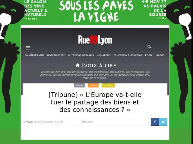 [Tribune] «L'Europe va-t-elle tuer le partage des biens et des connaissances?»