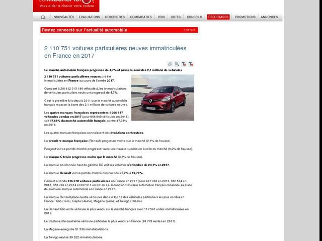 2 110 751 voitures particulières neuves immatriculées en France en 2017