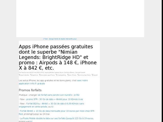 """Apps iPhone ponctuellement gratuites dont le superbe """"Nimian Legends: BrightRidge HD"""", Airpods à 148 € et promos apps, films, iPhone Red et iPhone X à 842 € !"""