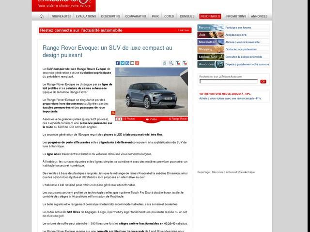 Range Rover Evoque: un SUV de luxe compact au design puissant