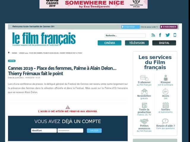 Cannes 2019 - Place des femmes, Palme à Alain Delon…Thierry Frémaux fait le point