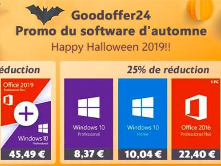 Promos Halloween : Windows 10 Pro à 8,37 €, Office 2016 à 22,40 € et bien plus encore
