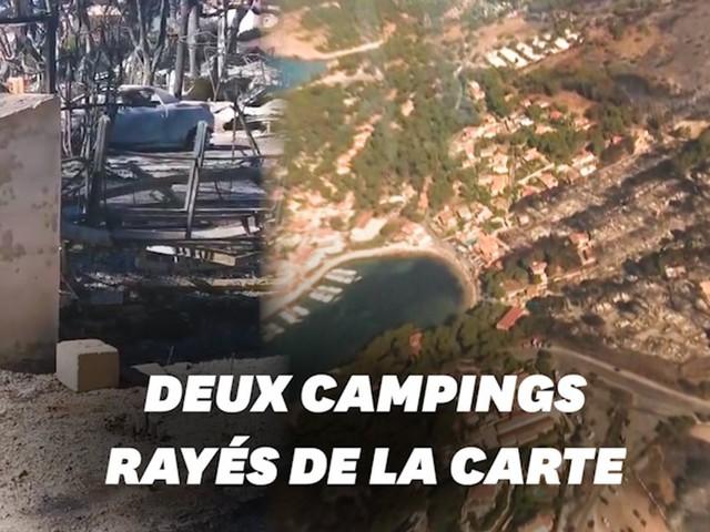 Incendie à Martigues: les images des habitations et des campings ravagés
