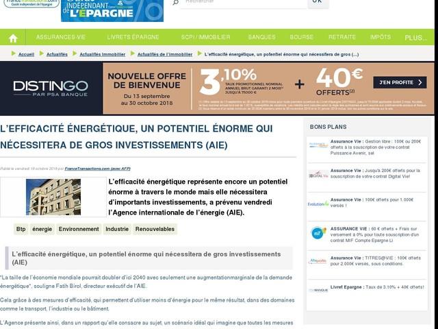 L'efficacité énergétique, un potentiel énorme qui nécessitera de gros investissements (AIE)