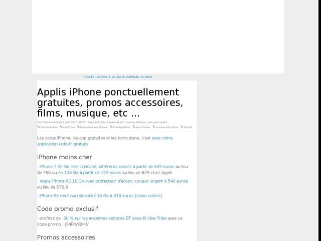 Applis iPhone ponctuellement gratuites, promos accessoires, films, musique, etc ...