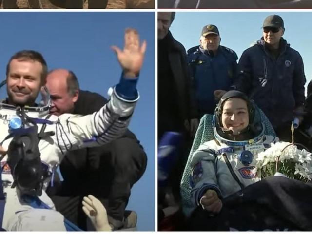 L'équipe russe ayant tourné le premier film dans l'espace de retour sur Terre (vidéo)