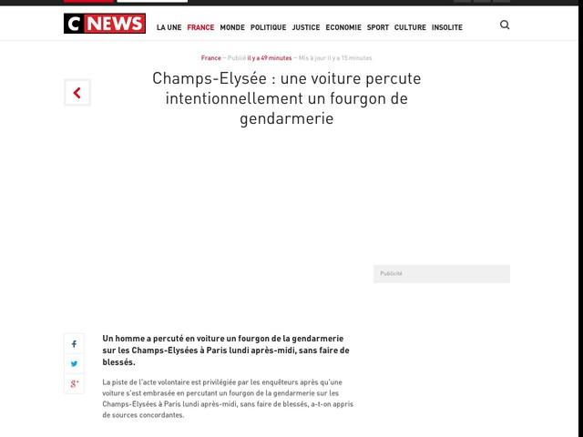 Champs-Elysée : une voiture percute intentionnellement un fourgon de gendarmerie