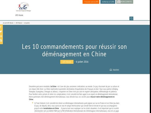 Les 10 commandements pour réussir son déménagement en Chine