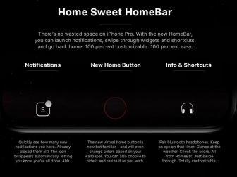 Concept interface iPhone 8 : notifications et infos affichées dans la zone qui entoure le bouton home virtuel