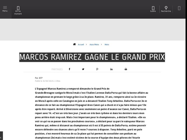 Auto/Moto - Marcos Ramirez gagne le Grand Prix