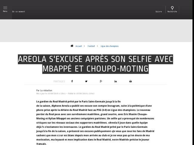 Football - Ligue des champions - Areola s'excuse après son selfie avec Mbappé et Choupo-Moting